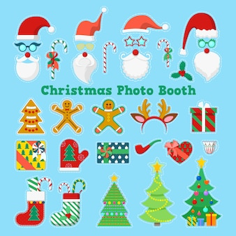 Merry christmas photo booth elementi per feste con occhiali, oggetti di scena e corna. illustrazione