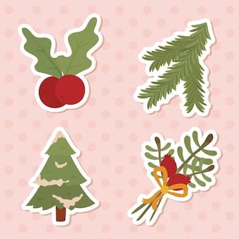 Buon natale albero di pino foglie e bacche di design, stagione invernale e tema della decorazione