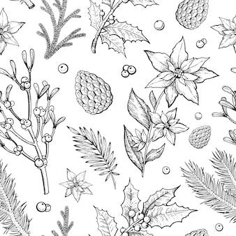 Buon natale piante seamless pattern con ramo di pino