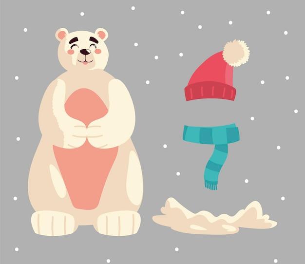 Le icone del cappello e della neve della sciarpa dell'orso polare di buon natale hanno messo l'illustrazione di vettore