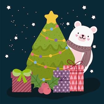 Buon natale orso polare con celebrazione albero e regali
