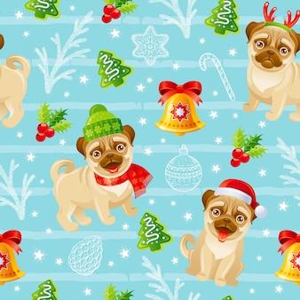 Modello di cane pug di buon natale. sfondo di stampa vacanza invernale senza soluzione di continuità. natale divertente.