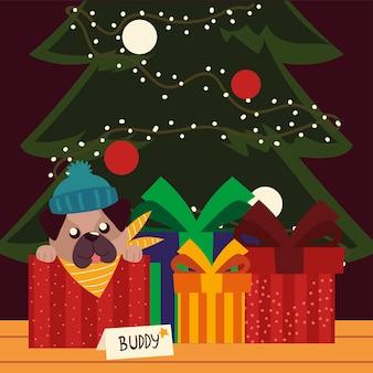 Cucciolo di natale allegro con cappello nei regali della scatola e illustrazione di celebrazione dell'albero