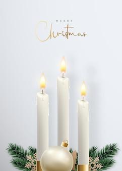 Buon natale candele brillanti realistiche
