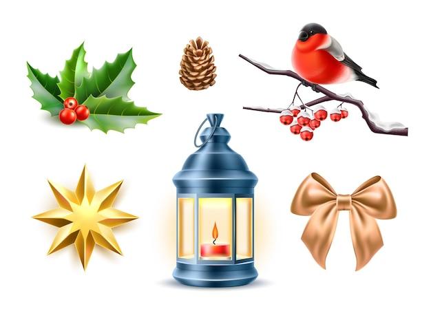 Buon natale simboli realistici stella giocattolo agrifoglio foglie ciuffolotto rowanberry ramo di albero lanterna