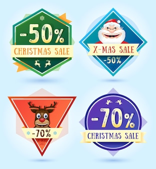 Distintivi di vendita di buon natale. illustrazione vettoriale.