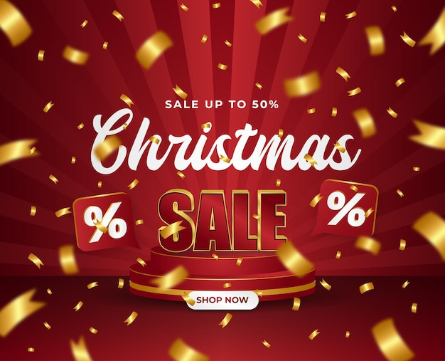 Merry christmas sale flayer red and gold podium 3d gold confetti