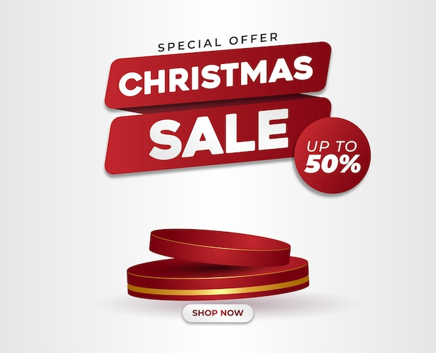 Merry christmas sale flayer red and gold podium 3d red ribbon