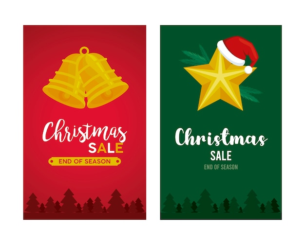 Scritte in vendita di buon natale con campane appese e illustrazione a stella