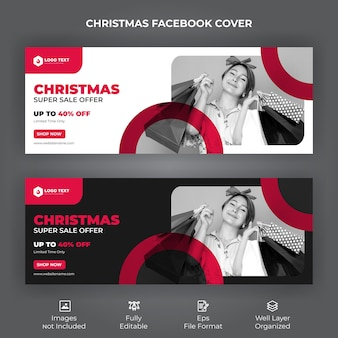 Banner di copertina di facebook offerta di vendita di buon natale