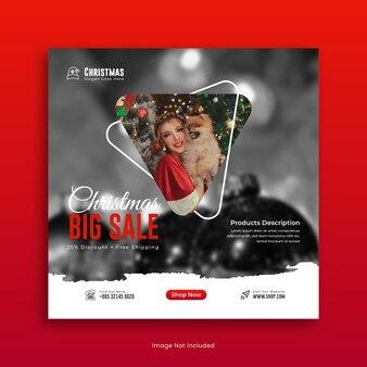 Buon natale vendita social media post design o instagram post template vettore premium