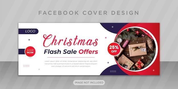Saldi di buon natale con il design della copertina di facebook