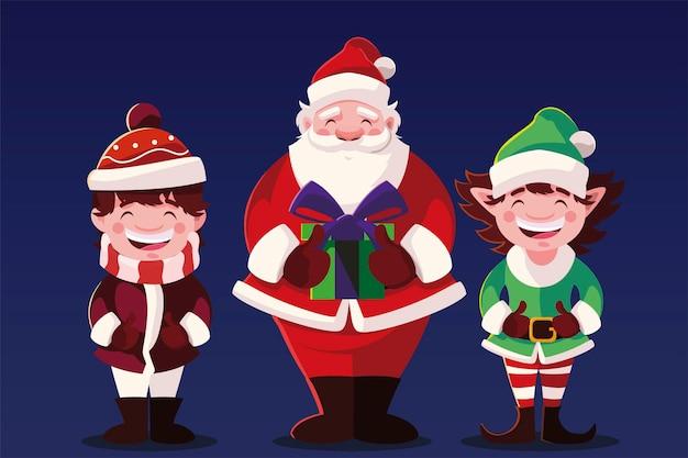 Buon natale santa ragazzo ed elfo, stagione invernale e tema della decorazione