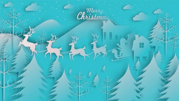 Merry christmas babbo natale renna slitta di carta arte