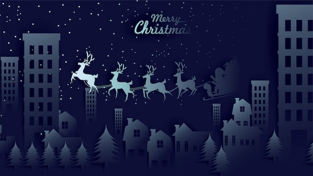 Merry christmas babbo natale slitta trainata da renne