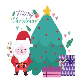 Buon natale, albero di babbo natale e carta di celebrazione della decorazione dei regali per l'illustrazione di saluto