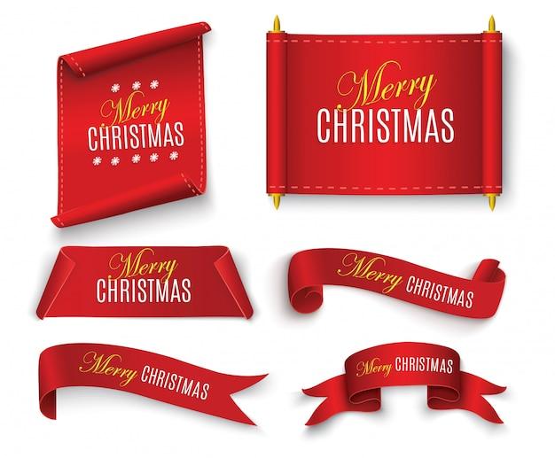 Merry christmas scroll rosso. striscioni di carta realistici.