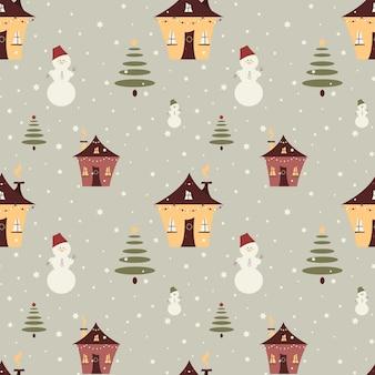 Buon natale senza cuciture con elementi di simpatico cartone animato pupazzo di neve casa abete vettore texture