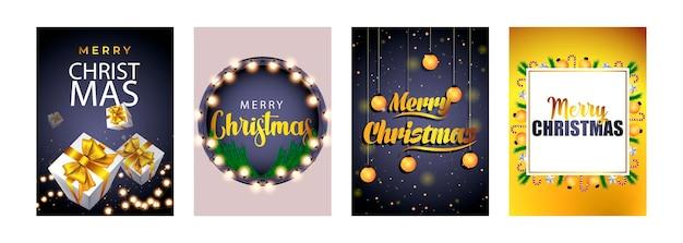 Buon natale set di poster o volantini design di biglietti di auguri con ramo di un albero e palla di natale
