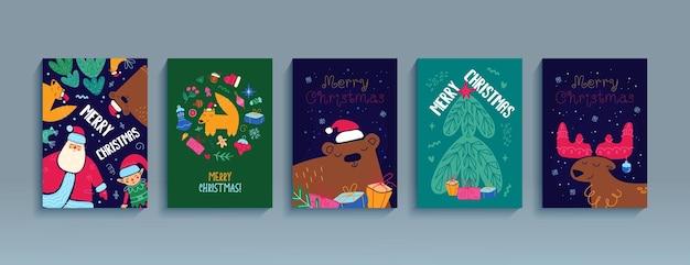 Buon natale set di poster modello biglietti di auguri volantini felice anno nuovo fumetto illustrazione