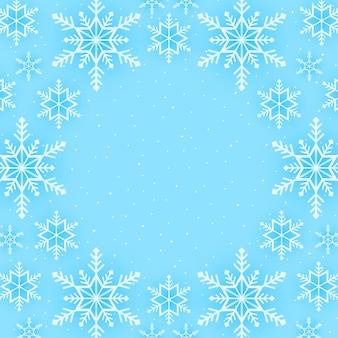 Buon natale, sfondo con motivo a fiocchi di neve, striscione che cade sulla neve con spazio per le copie, stile di arte della carta