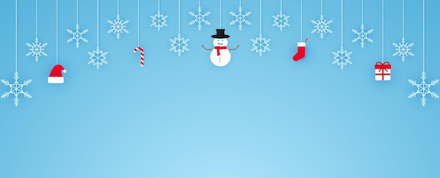 Buon natale, fiocchi di neve e cose appese, sfondo banner, spazio copia, stile cartaceo