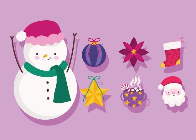 Buon natale, pupazzo di neve santa palla di fiori e stelle decorazione e ornamento stagione icone