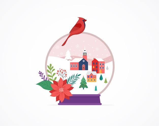 Modello di buon natale, scene del paese delle meraviglie invernali in un globo di neve,