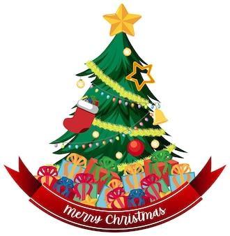 Banner di testo di buon natale con albero di natale e decorazioni