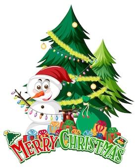 Banner di testo di buon natale con pupazzo di neve e albero di natale