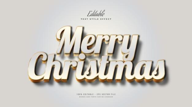 Testo di buon natale in lussuoso bianco e oro con effetto goffrato 3d. effetto stile testo modificabile