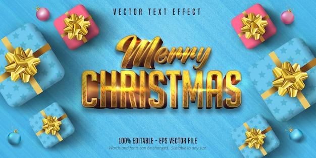 Testo di buon natale, effetto di testo modificabile in stile natalizio in oro lucido
