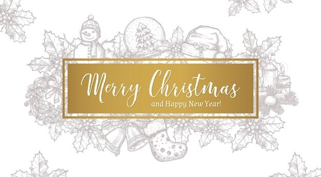 Cartolina orizzontale, poster o sfondo di auguri alla moda di buon natale con etichetta e elementi festivi di natale di schizzo
