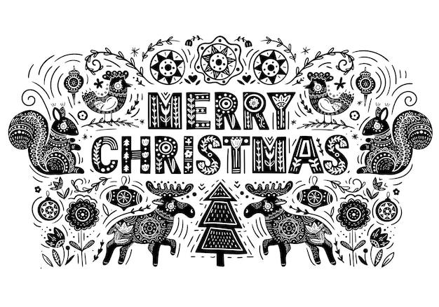 Merry christmas vector christmas card con alce scoiattolo uccello e scritte disegnate a mano