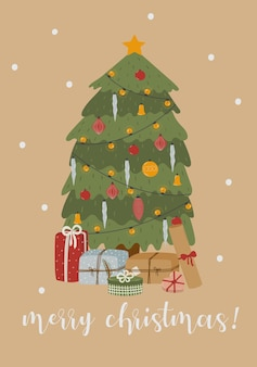 Cartolina d'auguri di buon natale con albero decorato e regali