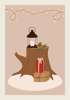 Cartolina d'auguri di buon natale con illustrazione invernale del ramo di lanterna di scatole regalo moncone