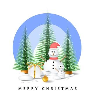 Buon natale vettoriale con albero, confezione regalo, palla e pupazzo di neve