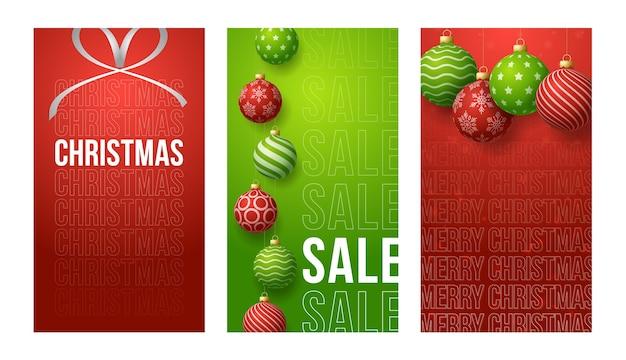 Banner verticale di buon natale per storie. rosso e verde set di post di storie sui social media a tema natalizio, modello di cornice di copertura banner palla pallina rossa e verde realistico 3d