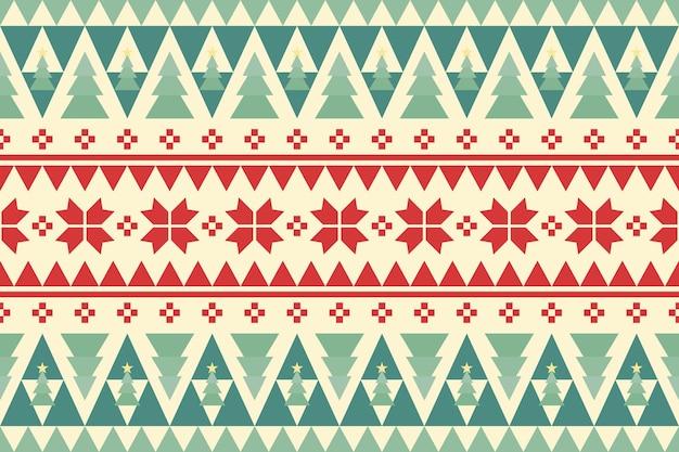 Buon natale vintage etnico senza cuciture decorato con alberi verdi e fiori rossi. design per sfondo, carta da parati, tessuto, moquette, banner web, carta da imballaggio. stile di ricamo. vettore.