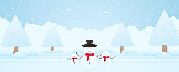 Buon natale paesaggio invernalebenvenuto pupazzo di neve con albero nei giardiniora che cade e fiocco di neve