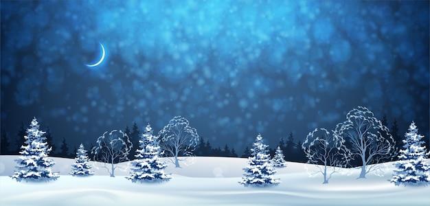 Buon natale paesaggio notturno invernale
