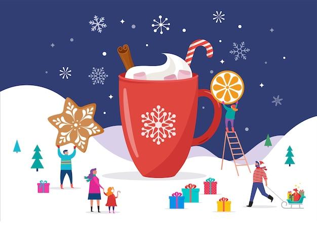 Buon natale, scena invernale con una grande tazza di cacao e piccole persone