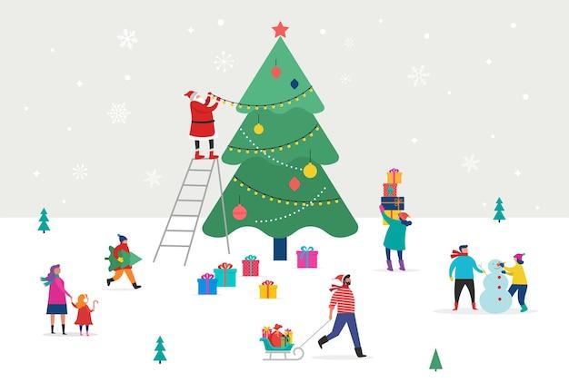 Buon natale, scena invernale con un grande albero di natale e piccole persone, giovani uomini e donne, famiglie che si divertono sulla neve, decorano un albero, sci, snowboard, slittino, pattinaggio sul ghiaccio
