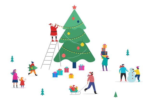 Buon natale, scena invernale con un grande albero di natale e piccole persone