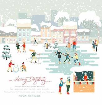 Buon natale inverno con persone che camminano all'aperto nel parco innevato, sci, pattinaggio, trascorrere le vacanze di natale