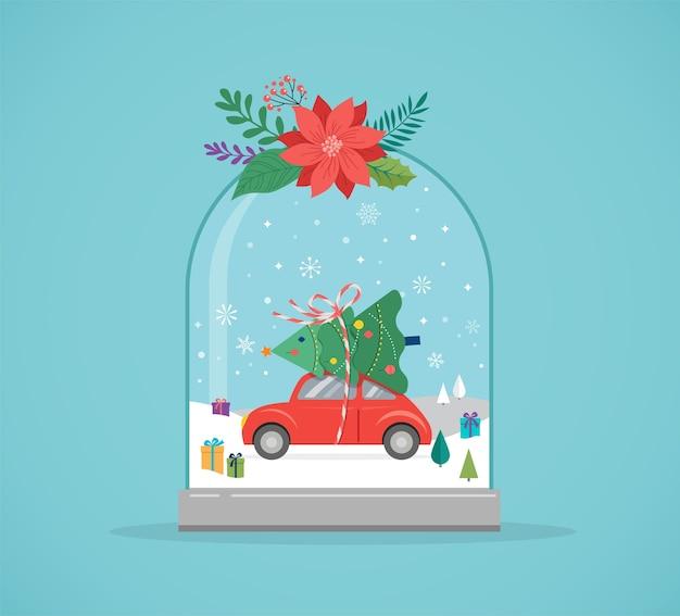Buon natale, scene del paese delle meraviglie invernali in un globo di neve, illustrazione di vettore di concetto