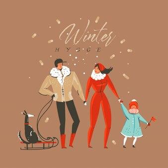 Buon natale con personaggi familiari e testo winter hygge isolato su sfondo marrone