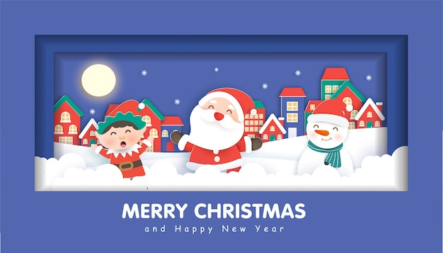 Buon natale con babbo natale e amici per sfondo natalizio, cartolina di natale in carta tagliata e stile artigianale.