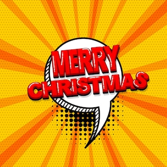 Merry christmas xmas sound fumetti effetti di testo modello fumetti fumetti mezzitoni pop art