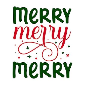 Merry merry merry elemento tipografico unico design vettoriale premium